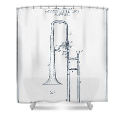 Trombone Patent From 1902 - Blue Ink Shower Curtain by Aged Pixel