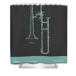 Trombone Patent From 1902 - Modern Gray Blue Shower Curtain by Aged Pixel