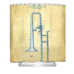 Trombone Patent From 1902 - Vintage Paper Shower Curtain by Aged Pixel