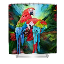 Tropic Spirits - Macaws Shower Curtain by Carol Cavalaris