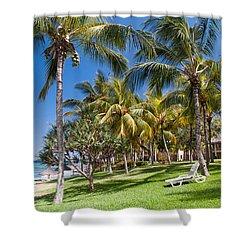 Tropical Beach I. Mauritius Shower Curtain by Jenny Rainbow