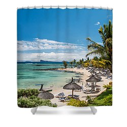 Tropical Beach II. Mauritius Shower Curtain by Jenny Rainbow