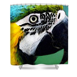 Tropical Bird - Colorful Macaw Shower Curtain by Sharon Cummings