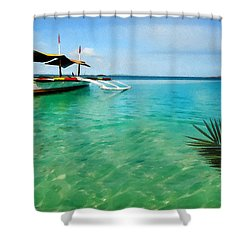 Tropical Getaway Shower Curtain by Lourry Legarde