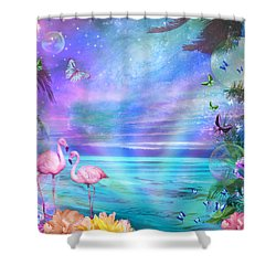 Tropical Moonlight Flamingos Shower Curtain by Alixandra Mullins