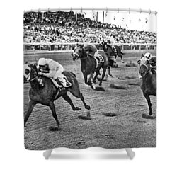 Tropical Park Horse Race Shower Curtain by Underwood Archives