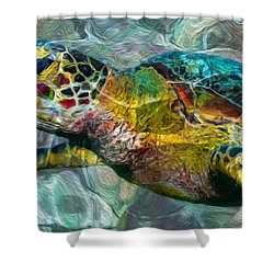 Tropical Sea Turtle Shower Curtain by Jack Zulli