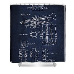 Trumpet Patent From 1939 - Blue Shower Curtain by Aged Pixel