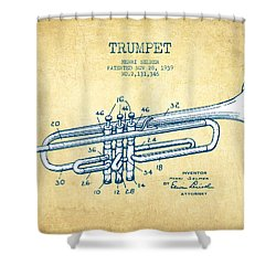 Trumpet Patent From 1939 - Vintage Paper Shower Curtain by Aged Pixel