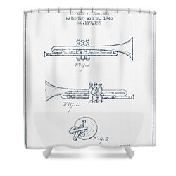 Trumpet Patent From 1940 - Blue Ink Shower Curtain by Aged Pixel