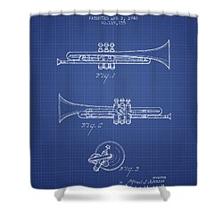 Trumpet Patent From 1940 - Blueprint Shower Curtain by Aged Pixel