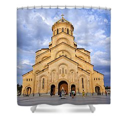 Tsminda Sameba Cathedral Tbilisi Shower Curtain by Robert Preston