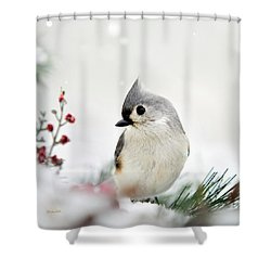 Titmouse Square Shower Curtain by Christina Rollo