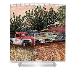 Tularosa Motors Shower Curtain by Jack Pumphrey