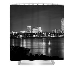 Tulsa In Black And White - University Tower View Shower Curtain by Gregory Ballos