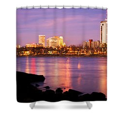 Tulsa Oklahoma - University Tower View Shower Curtain by Gregory Ballos