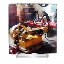 Turn Of The Century Machine Shop Shower Curtain by Susan Savad