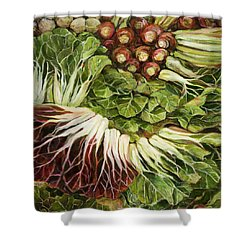 Turnip And Chard Concerto Shower Curtain by Jen Norton
