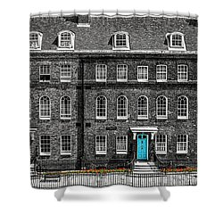 Turquoise Doors At Tower Of London's Old Hospital Block Shower Curtain by James Udall