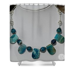 Turquoise And Sapphire Agate Necklace 3674 Shower Curtain by Teresa Mucha