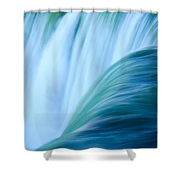 Turquoise Blue Waterfall Shower Curtain by Peta Thames