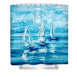 Turquoise Morning Shower Curtain by Zaira Dzhaubaeva