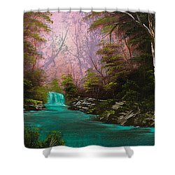 Turquoise Waterfall Shower Curtain by C Steele