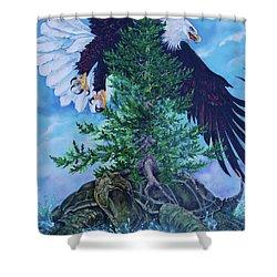 Turtle Island Shower Curtain by Derrick Higgins