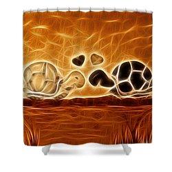 Turtles Love Fractalius Shower Curtain by Georgeta Blanaru