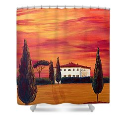 Tuscany In Red Shower Curtain by Christine Huwer