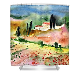 Tuscany Landscape 02 Shower Curtain by Miki De Goodaboom