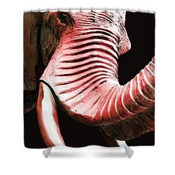 Tusk 4 - Red Elephant Art Shower Curtain by Sharon Cummings