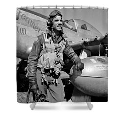 Tuskegee Airman Shower Curtain by Benjamin Yeager