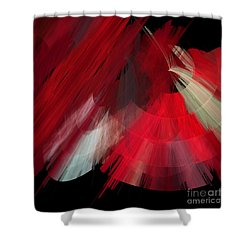 Tutu Stage Left Red Abstract Shower Curtain by Andee Design