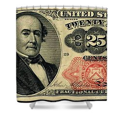 Twenty Five Cents 5th Issue U.s. Fractional Currency Shower Curtain by Lanjee Chee
