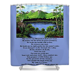 Twenty-third Psalm With Twin Ponds Blue Shower Curtain by Barbara Griffin