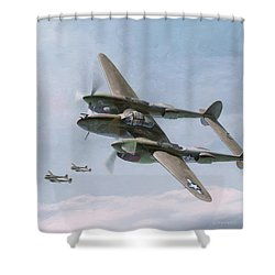 Twin-tailed Dragons Shower Curtain by Wade Meyers