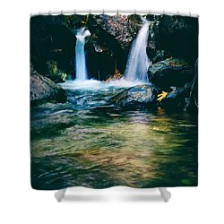 Twin Waterfall Shower Curtain by Stelios Kleanthous