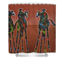 Two Against One Shower Curtain by Lance Headlee