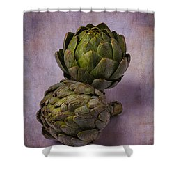 Two Artichokes Shower Curtain by Garry Gay