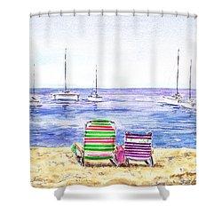 Two Chairs On The Beach Shower Curtain by Irina Sztukowski