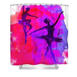 Two Dancing Ballerinas 3 Shower Curtain by Naxart Studio