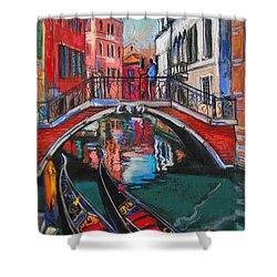 Two Gondolas In Venice Shower Curtain by Mona Edulesco