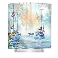 Two In The Early Morning Mist Shower Curtain by Carol Wisniewski