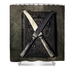 Two Knives And A Book Shower Curtain by Joana Kruse