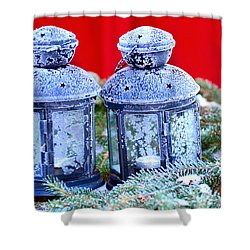 Two Lanterns Frozty Shower Curtain by Toppart Sweden