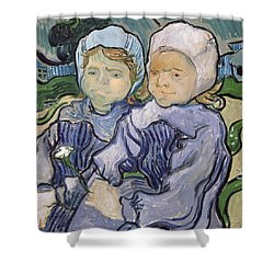 Two Little Girls Shower Curtain by Vincent Van Gogh