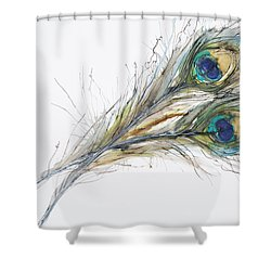 Two Peacock Feathers Shower Curtain by Tara Thelen