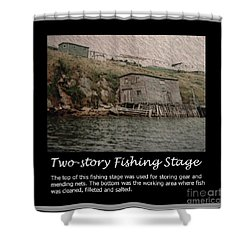 Two-story Fishing Stage Shower Curtain by Barbara Griffin