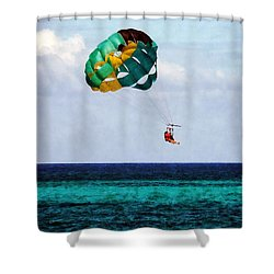 Two Women Parasailing In The Bahamas Shower Curtain by Susan Savad